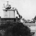 Vietnam War Tour - U.S. helicopter crew helps evacuees up the ladder atop a Saigon building in 1975