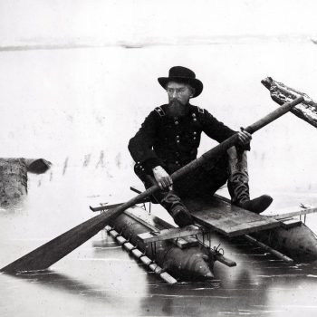 Union General Herman Haupt, a civil engineer, moves across the Potomac River in a one-man pontoon boat that he invented for scouting and bridge inspection - USA Battlefield Tours