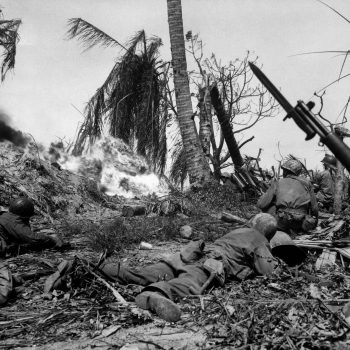 Flame throwers are used to smoke out Japs from a block house on Kwajalein Island - Asia Pacific Battlefield Tours