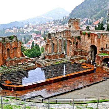 The ancient Teatro Antico di Taormina, located in Taormina, Italy, is a Greek theater built in the early seventh century BC - Italy Battlefield Tours