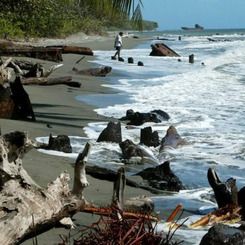 Rusting wreckage from the WW2 battle of Guadalcanal lines the foreshore near Honiara - Guadalcanal 75th Anniversary Tour