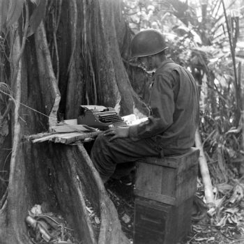 Improvised table at Buna New Guinea Campaign - New Guinea Campaign 75th Anniversary Tour