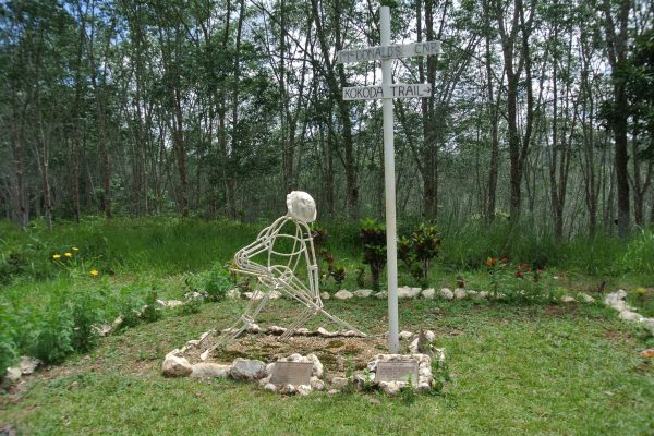 At McDonald's Corner there is a small memorial that marks the start of the Kokoda Track - Milne Bay 75th Anniversary Tour