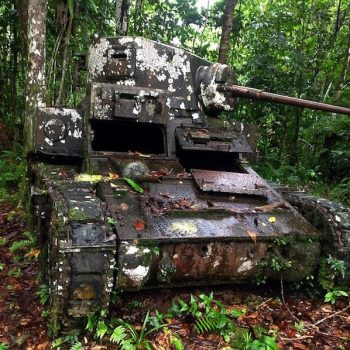 A World War Two American Stuart tank lies in the same spot where it was immobilised - Guadalcanal and HMAS Canberra Anniversary Tour