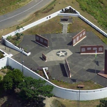 Aerial View of American Memorial in Honiara - Guadalcanal and HMAS Canberra Anniversary Tour
