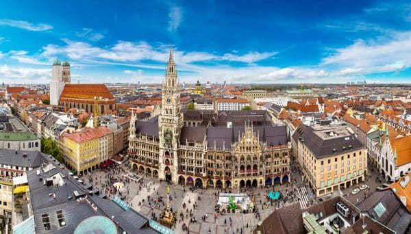 Germany - Aerial view on Marienplatz town hall and Frauenkirche in Munich - Mat McLachlan Battle Tours