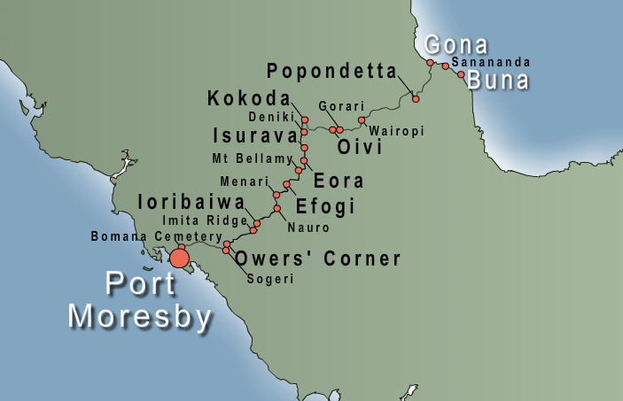 Map of Trek Kokoda Tour