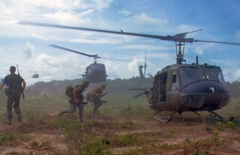 U.S. Army Bell UH-1D Huey helicopters airlift members of the 2nd Battalion, 14th Infantry Regiment - Vietnam Revealed