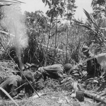 An American three inch trench mortar, almost hidden in a deep New Guinea jungle lets loose at a Japanese position - Beachheads Tour